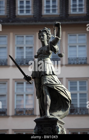 Lady Justice Statue in Frankfurt Main, Germany - Stock Photo