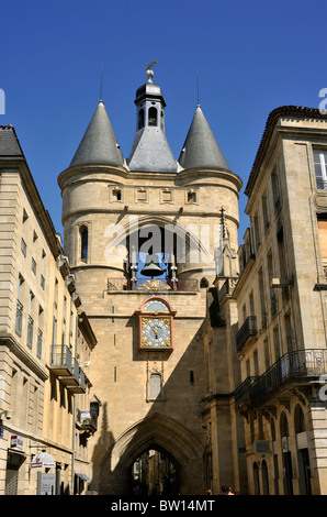 france, bordeaux, grosse cloche gate, clock tower - Stock Photo