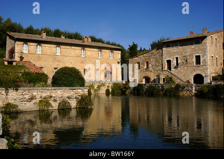 italy, tuscany, val d'orcia, bagno vignoni, thermae - Stock Photo