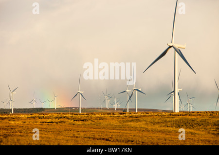 A Rainbow over Whitelee wind farm on Eaglesham Moor just south of Glasgow in Scotland, UK, is Europe's largest onshore - Stock Photo