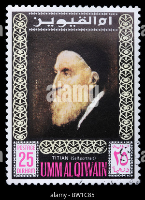 Postage stamps printed in United Arab Emirates shows self-portrait of the artist Titian, circa 1975 - Stock Photo