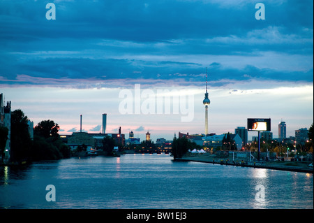 Beautiful evening sky over the river Spree, Berlin, Germany - Stock Photo