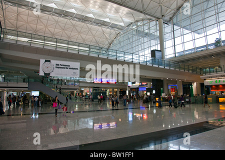 Hong Kong International Airport Chek Lap Kok Airport inside interior - Stock Photo