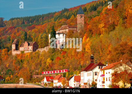 Germany, Odenwald: Autumn in Zwingenberg at river Neckar - Stock Photo