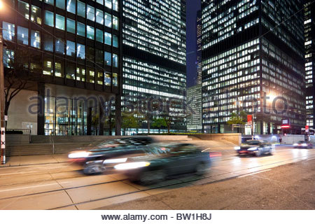 Bank towers in the early morning on Wellington Street in the heart of the Financial District in Toronto Ontario - Stock Photo