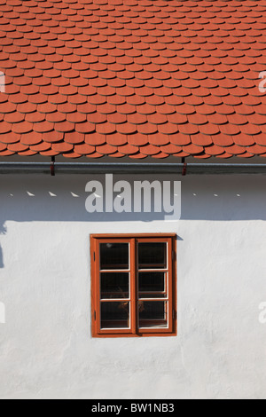facade of an old building in the village of Zlata Koruna, Golden Crown, Bohemia, Czech Republic, Europe. Photo by - Stock Photo