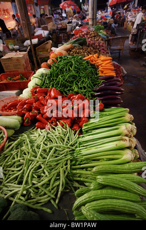 Vegetable fair in Yangshuo, China - Stock Photo
