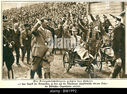 Hitler, Nuremberg, 1933 photo of the Fuhrer saluted by war veterans at a rally in the Bavarian City - Stock Photo