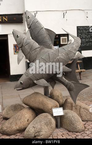 Man Of Ross Pub Inn John Kyrle Ross-On-Wye Herefordshire UK Fish Statue - Stock Photo