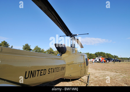 United States Army Military Helicopter parked on ground at Camp Edwards of the Massachusetts Military Reservation, - Stock Photo