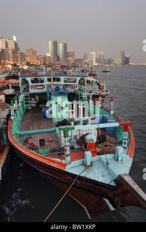 A boat moored at the Dubai Creek, United Arab Emirates - Stock Photo