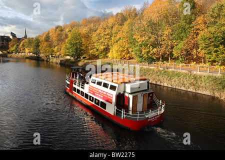Tourists on a boat trip along the river Wear aboard the Prince Bishop, Durham City, England. - Stock Photo