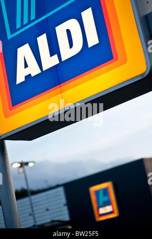 Aldi discount supermarket sign, UK