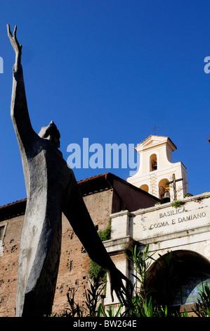 Modern sculpture outside Basilica of St Cosmas & Damian, Foro Romano - Stock Photo