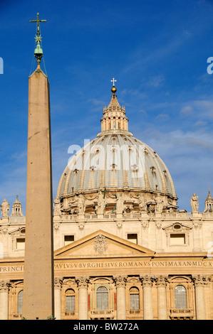 Obelisk & St Peter's Basilica, St Peter's Square, Vatican City - Stock Photo