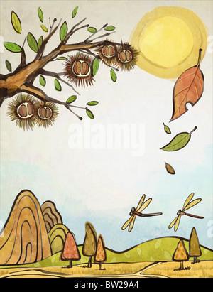 autumn air in illustraion - Stock Photo