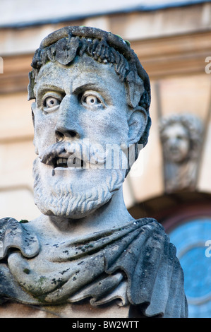 Busts of classical philosophers at the Sheldonian, Oxford, UK - Stock Photo