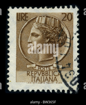 ITALY - CIRCA 1959: A stamp printed in ITALY shows image of the dedicated to the Republica Italiana circa 1959. - Stock Photo
