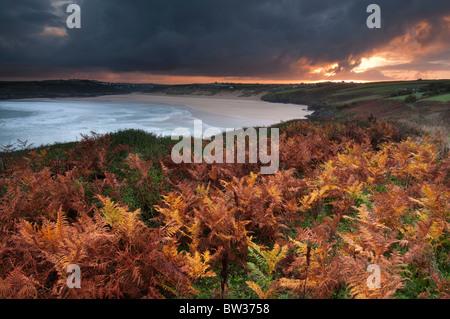 Autumn Sunrise over Crantock Bay near Newquay on the North Cornish coast - Stock Photo