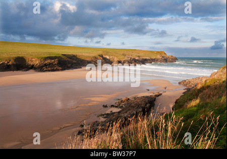 A deserted beach at Porth (Polly) Joke on the North Cornish coast between Crantock and Holywell Bay - Stock Photo