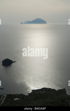 View of Filicudi Island from Salina, one of the Aeolian Islands off Sicily - Stock Photo