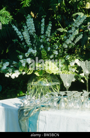 Still-Life of white delphiniums in glass vase on garden table with wine-glasses - Stock Photo