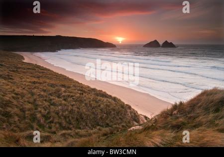 Sunset at Holywell bay near Newquay on the North Cornish coast - Stock Photo