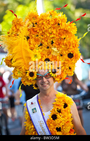 Key West Halloween Costumed Revelers During Fantasy Fest