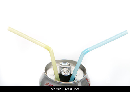 Soda can with two straws in it - Stock Photo