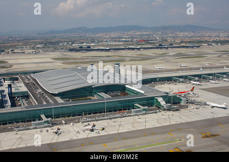 Overview of Barcelona El Prat Airport Terminal 2 - Stock Photo