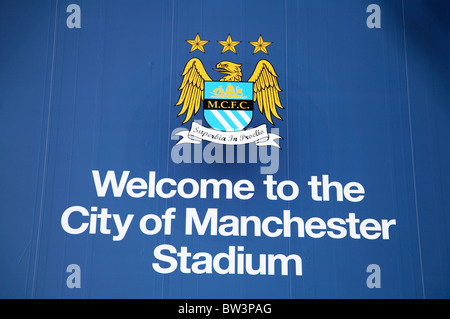Welcome sign at City of Manchester stadium home of Manchester City Football Club - Stock Photo