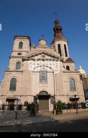 Notre-Dame de Quebec Basilica in the Upper Town area of Old Quebec, Quebec, Canada - Stock Photo