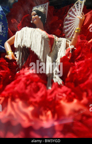 Flamenco dolls in the window of a shop in Barcelona, Spain - Stock Photo