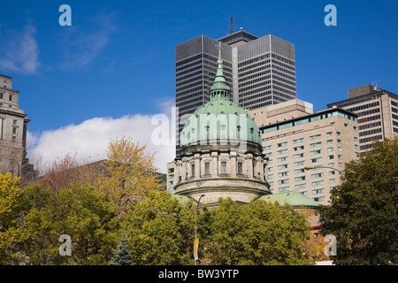 Downtown Montreal buildings with view of Mary Queen of the World Cathedral and Place Ville-Marie in autumn, Quebec, - Stock Photo