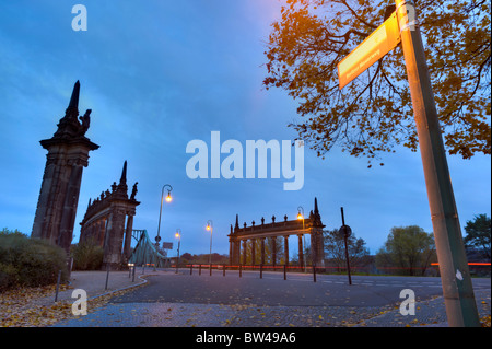 Sign post from the Berliner Mauerweg to the Glienicker Bruecke bridge, Potsdam, Brandenburg, Germany, Europe - Stock Photo