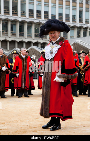 LONDON, ENGLAND - Lord Mayor's Show in the City of London, The Lord Mayor Alderman Michael Bear at the Guildhall - Stock Photo