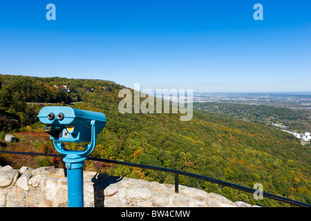View towards Chattanooga from Lover's Leap in Rock City Gardens on Lookout Mountain, Georgia, near Chattanooga, - Stock Photo