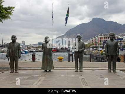 Four statues commemorating  South Africa's four Nobel Peace Laureates - Stock Photo