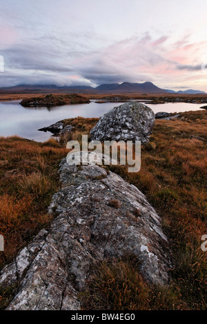 The Twelve Pins from Conga Lough, Connemara, County Galway, Connaught, Ireland. At sunrise. - Stock Photo