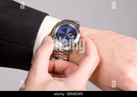Hand ready to stop chronograph in a modern watch. - Stock Photo