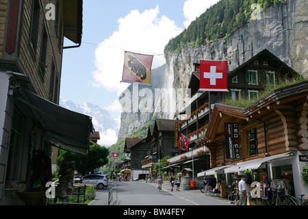 A view of the main street in the town of Lauterbrunnen, Switzerland - Stock Photo