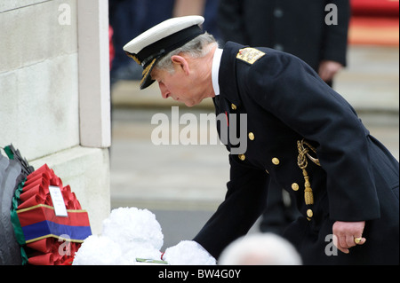 HRH The Prince of Wales, Prince Charles attends the Remembrance Sunday Memorial Service at the Cenotaph, Whitehall, - Stock Photo