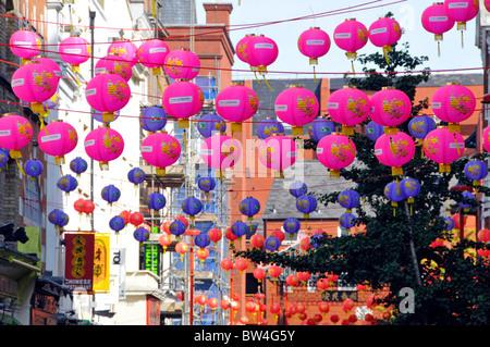 Lanterns in Chinatown London - Stock Photo