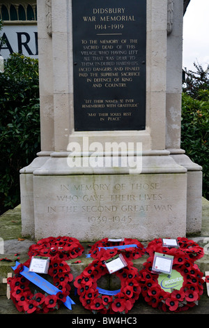 wreaths placed at the war memorial,didsbury,manchester,england,uk November 14th, 2010 - Stock Photo