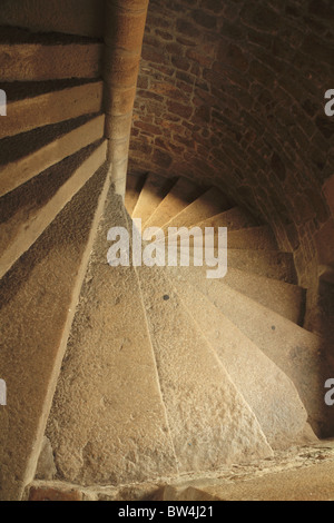 A spiral staircase in France. - Stock Photo