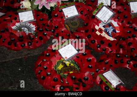 Wreathes made of poppies laid on the 11th November 2010 inside the Menin gate in Ypres, Belgium - Stock Photo