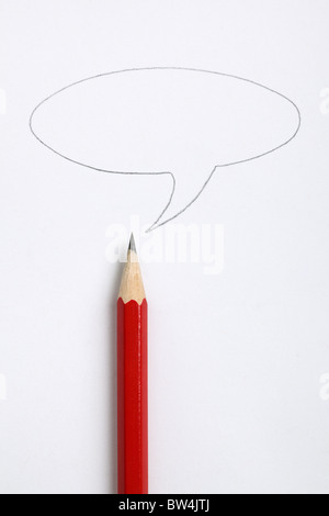 Speech bubble and sharp red pencil - Stock Photo