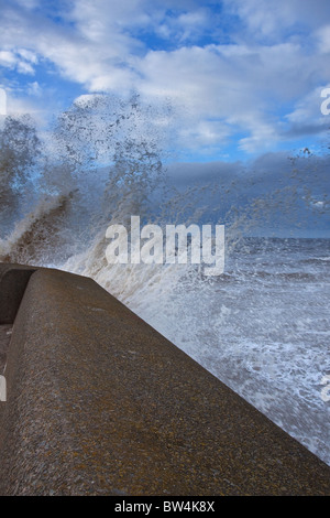 Breaking waves at New Brighton - Stock Photo