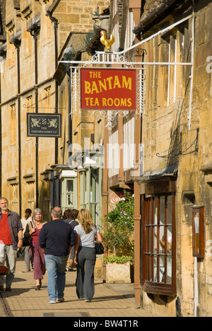 Pedestrians in front of Bantam Tea Rooms, Chipping Campden, Cotswolds, Gloucestershire, England, UK - Stock Photo