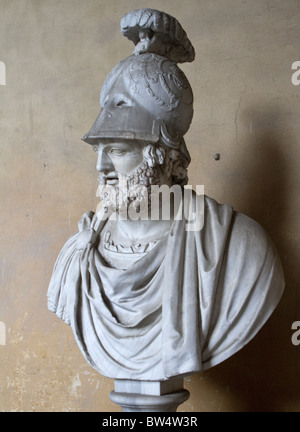 Ancient Roman head of a God, incorporated into a bust of Pyrrhus in the 16th century, on display at the Pitti Palace, - Stock Photo